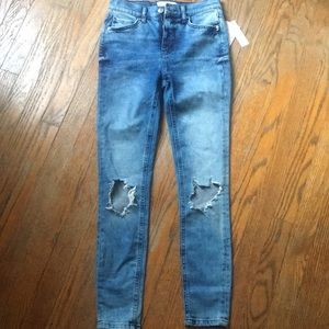 FREE PEOPLE busted knees, turquoise skinnies, NWT